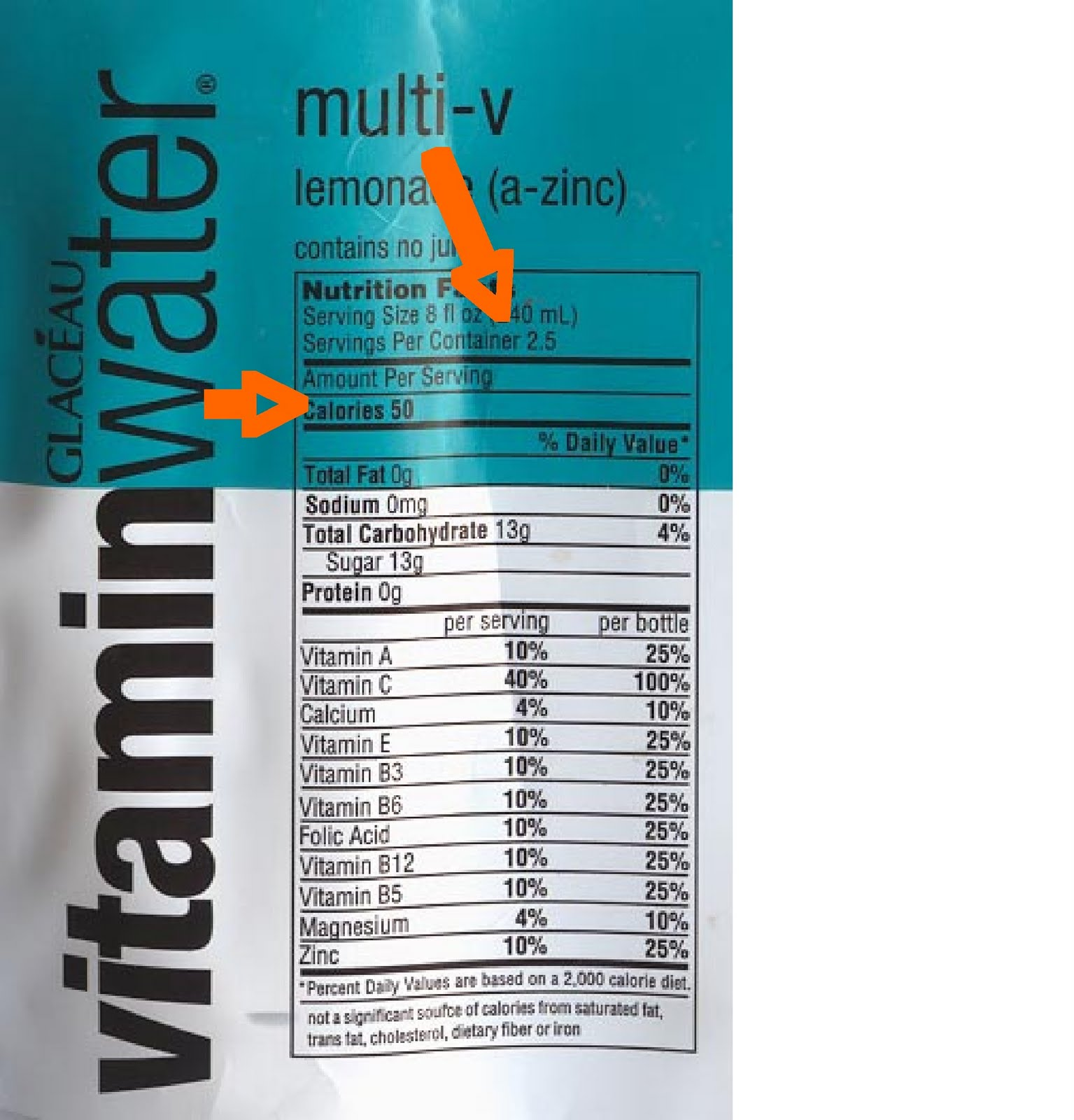 Spill the Beans: Vitamin Water Q&A | One Smart Brownie Vitamin Water Bottle Label